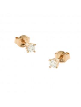 Σκουλαρίκι Ortaxidis Ροζ Χρυσό με ζιργκόν oro103