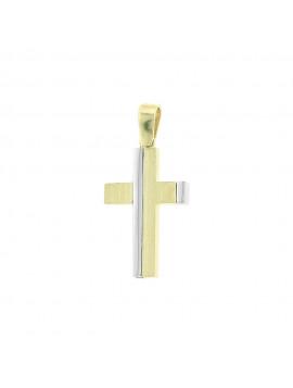 Σταυρός Δίχρωμος Λευκόχρυσο-Χρυσό 14 Καράτια oro81