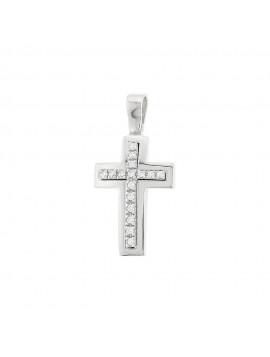 Σταυρός Λευκόχρυσος 14 Καράτια Με Ζιργκόν Πέτρες oro84