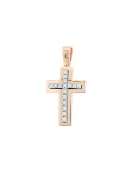 Σταυρός Ροζ Χρυσό 14 καράτια Με Πέτρες Ζιργκόν oro85
