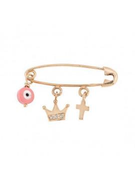 Παραμάνα Ortaxidis Χρυσή Με Κορώνα Μάτι Και Σταυρό για Κορίτσι 3ΑΒ.38ΡΖΠΑ