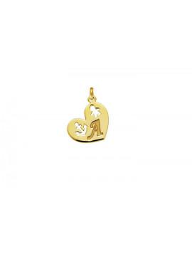 Μενταγιόν-Μονόγραμμα Χρυσό Καρδιά Μ001429