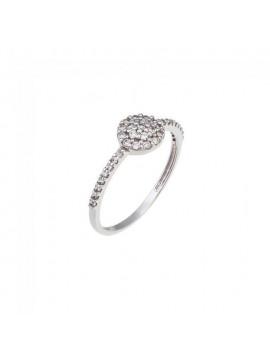 Δαχτυλίδι Μονόπετρο Ortaxidis Λευκόχρυσο με Ζιργκόν D041518