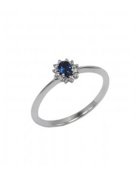 Δαχτυλίδι Λευκόχρυσο 18 Καρατίων Με Ζαφείρι Και Διαμάντια DJ030 4a806c0a306