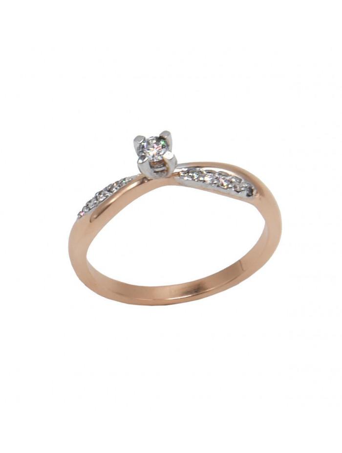 Δαχτυλίδι Μονόπετρο Ροζ Χρυσο 18 Καρατίων Με Διαμάντια DJ060 4943beeb989