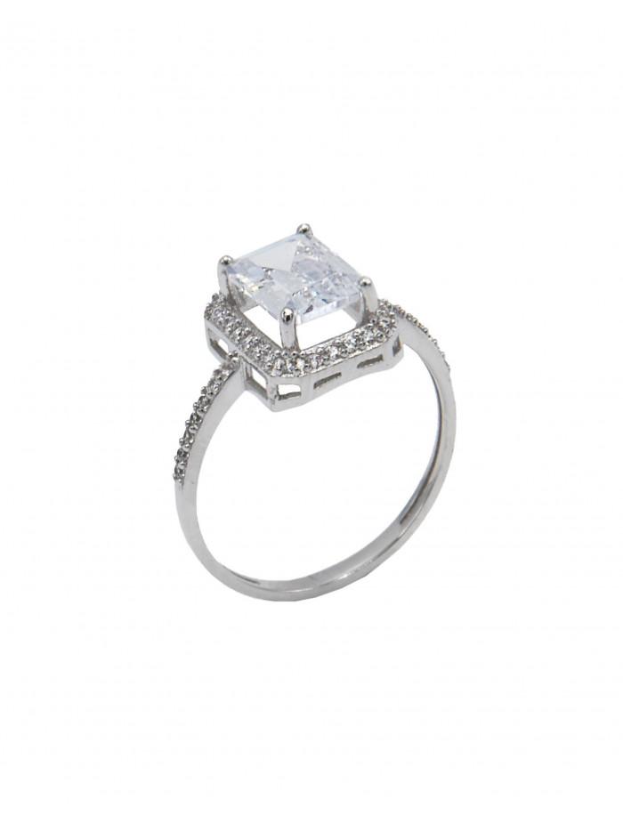 Δαχτυλίδι Μονόπετρο Λευκόχρυσο 14 Καράτια Με Ζιργκόν oro418 95830df0e9a