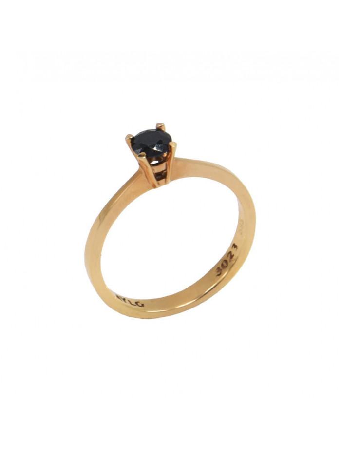 Δαχτυλίδι Μονόπετρο Ροζ Χρυσό 14 Καράτια Με Μαύρο Ζιργκόν oro419 640dec669c4