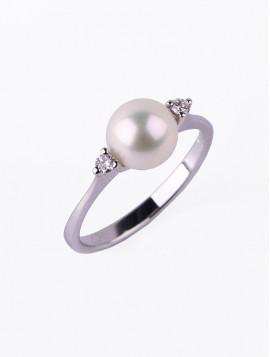 Δαχτυλίδι Λευκόχρυσο Με Διαμάντι Και Μαργαριτάρι DD01