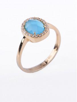 Δαχτυλίδι Χρυσό Με Τιρκουάζ Πέτρα D013