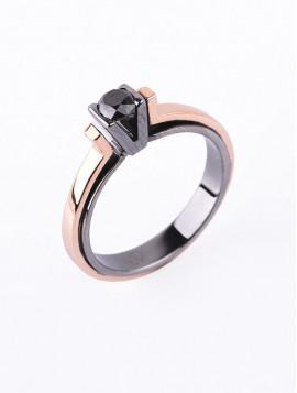 Δαχτυλίδι Μονόπετρο, Ροζ Χρυσό Με Μαύρο Διαμάντι DD09