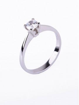 Δαχτυλίδι Μονόπετρο Λευκόχρυσο Με Ζιργκόν D023