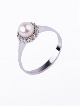 Δαχτυλίδι Λευκόχρυσο Με Μαργαριτάρι D015