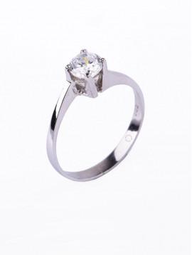 Δαχτυλίδι Μονόπετρο Λευκόχρυσο Με Ζιργκόν D026