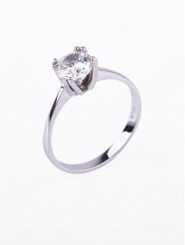 Δαχτυλίδι Μονόπετρο Λευκόχρυσο Με Ζιργκόν D028