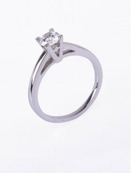 Δαχτυλίδι Μονόπετρο Λευκόχρυσο Με Ζιργκόν D035