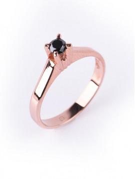 Δαχτυλίδι Μονόπετρο,Ροζ Χρυσό Με Μαύρο Διαμάντι DD10