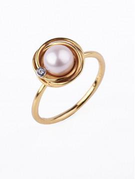Δαχτυλίδι Χρυσό Με Μαργαριτάρι Και Ζιργκόν D021