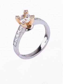 Δαχτυλίδι Μονόπετρο Λευκόχρυσο Με Ζιργκόν D036