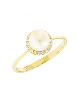 Δαχτυλίδι Χρυσό 14 Καράτια Με Μαργαριτάρι Και Ζιργκόν 5bl.5555r 02239fc22c7