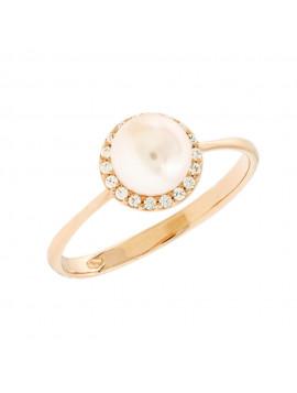 Δαχτυλίδι Ροζ Χρυσό Με Μαργαριτάρι Και Ζιργκόν 5bl.5556rr