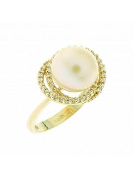 Δαχτυλίδι Χρυσό 14 Καράτια Με Μαργαριτάρι Και Ζιργκόν 5bl.7121r