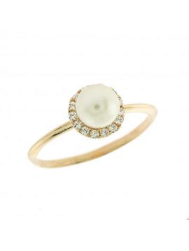 Δαχτυλίδι Ροζ Χρυσό Με Μαργαριτάρι Και Ζιργκόν 5bo.2055rr