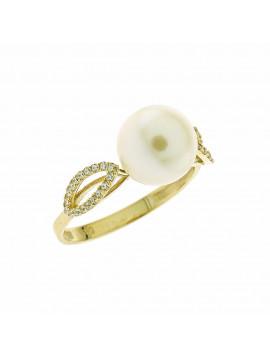 Δαχτυλίδι Χρυσό 14 Καράτια Με Μαργαρτάρι Και Ζιργκόν 5fm.1028r