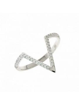 Δαχτυλίδι Λευκόχρυσο 14 Καράτια με Ζιργκόν 5fm.2044br
