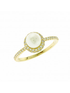 Δαχτυλίδι Χρυσό Με Μαργαριτάρι Και Ζιργκόν D020