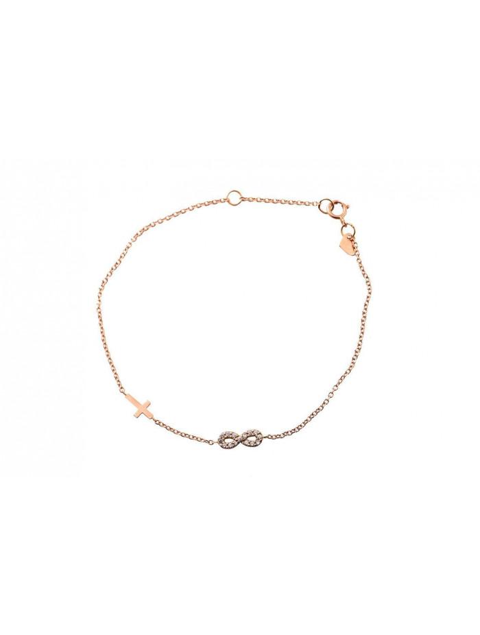Βραχιόλι Ροζ Χρυσό Άπειρο-Σταυρό Με Ζιργκόν oro241a 6b1a7b9dec9