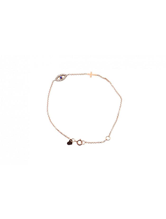 Βραχιόλι Ροζ Χρυσό Μάτι-Σταυρός Με Ζιργκόν oro391 5ce2c95968e
