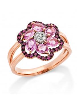 Δαχτυλίδι Ροζ Χρυσό 18 καράτια Με Ζαφείρια Και Διαμάντια DAENVY10