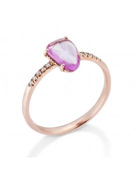 Δαχτυλίδι Ροζ Χρυσό 18 Καράτια Με Ζαφείρι Και Διαμάντια DAFRSP1
