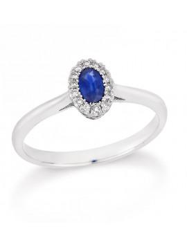 Δαχτυλίδι Λευκόχρυσο 18 Καρατίων Με Ζαφείρι Και ΔΙαμάντια DAOVAL201