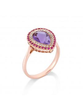 Δαχτυλίδι Ροζ Χρυσό18 Καρατίων Με Αμέθυστο,Διαμάντια Και Ρουμπίνια DA3327