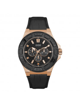 GUESS Rose Gold case with Black Leather Strap W0674G6