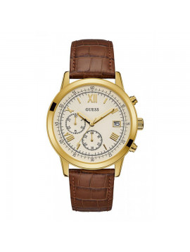 GUESS Gold Brown Leather Chronograph W1000G3