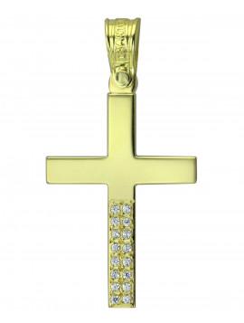 Σταυρός Triantos,Γυναικείος Χρυσός Με Πέτρες Ζιργκόν STR321