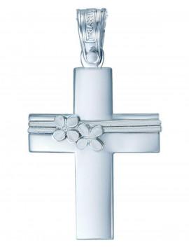 Σταυρός Λευκόχρυσος 14 Καράτια Με Πέτρα Ζιργκόν TRIANTOS 072ST42968
