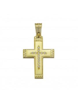 Σταυρός Triantos,Γυναικείος Χρυσός 14 καράτια Με Πέτρες Ζιργκόν STR329