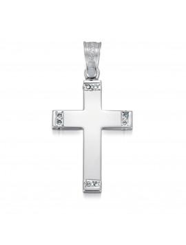 Σταυρός Triantos,Γυναικείος Λευκόχρυσος Με Πέτρες Ζιργκόν STR322