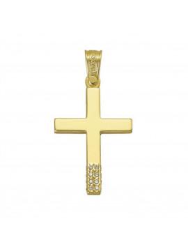 Σταυρός Triantos,Γυναικείος Χρυσός Με Πέτρες Ζιργκόν STR325