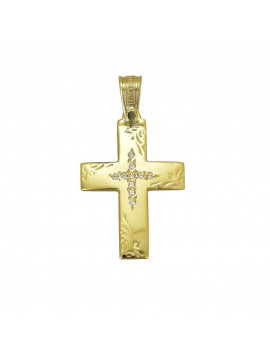 Σταυρός Triantos,Γυναικείος Χρυσός 14 καράτια Με Πέτρες Ζιργκόν STR328