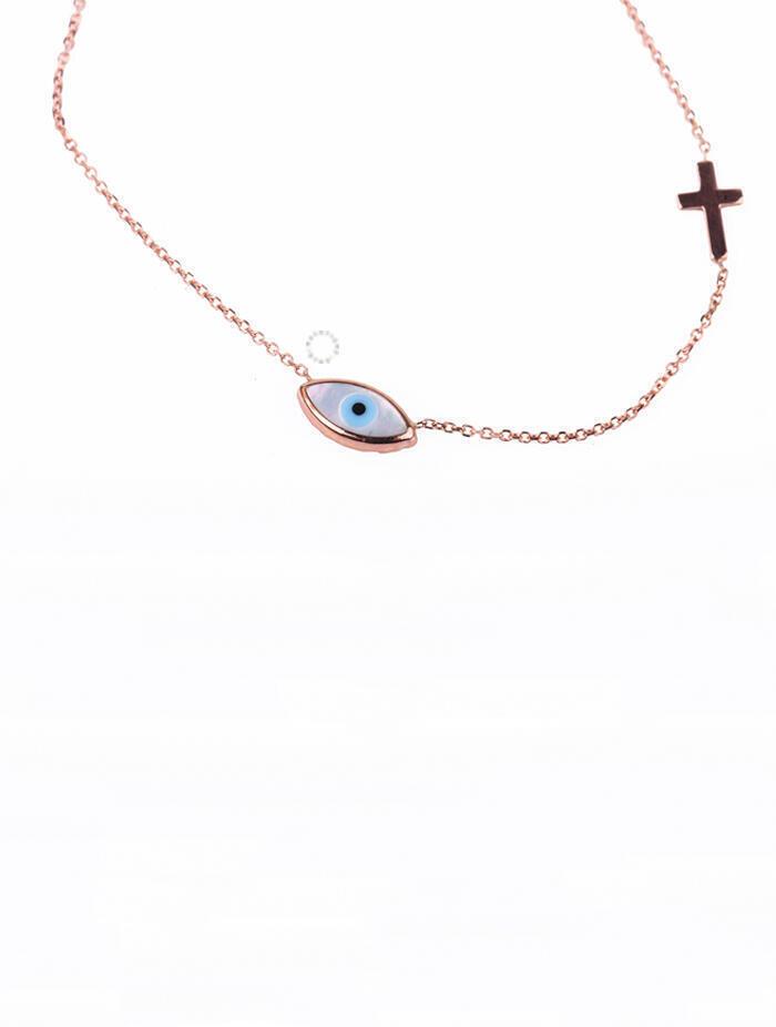 Κολιέ Ροζ Χρυσό Μάτι-Σταυρό oro213 3e4666e848b