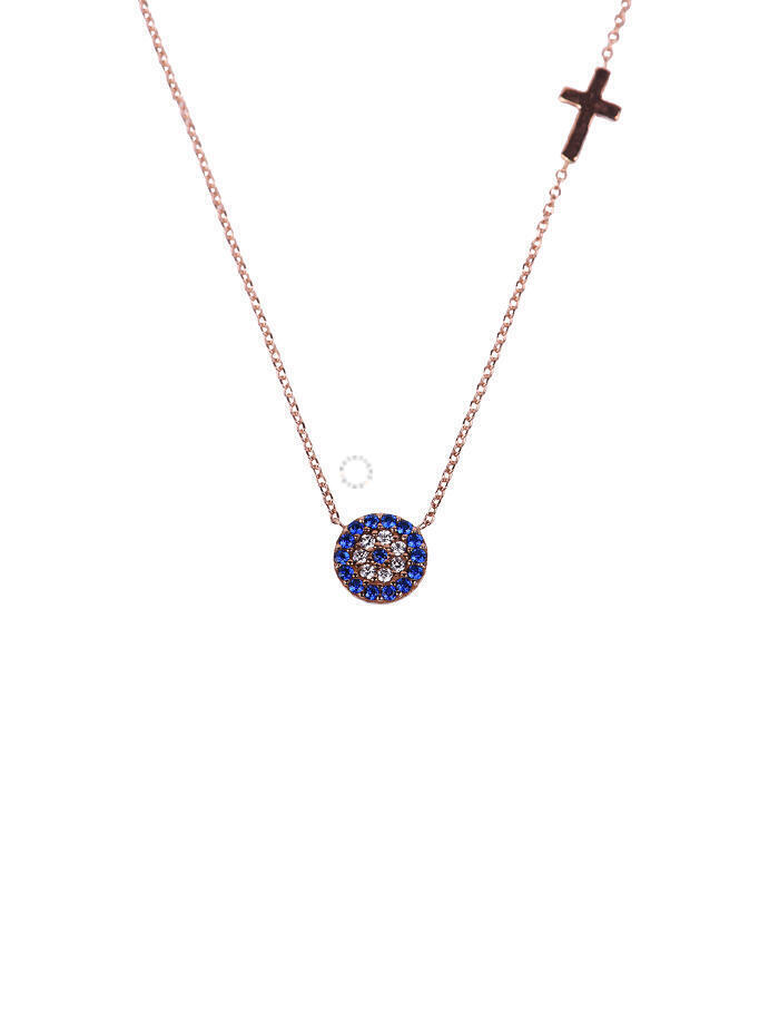 Κολιέ Ροζ Χρυσό Μάτι-Σταυρό Με Ζιργκόν oro223 c15d1e522f1