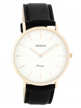 OOZOO Τimepieces Vintage Rose Gold Black Leather Strap C7761