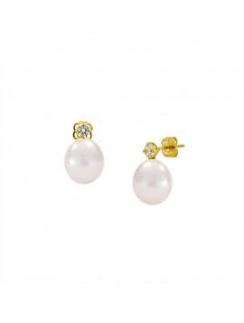 Σκουλαρίκι Χρυσό Με Μαργαριτάρι Και Ζιργκόν CN608