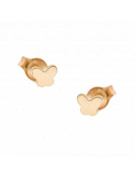 Σκουλαρίκια Ροζ Χρυσο Πεταλούδες Ortaxidis 3ΣΟΥ.316ΡΣΚ