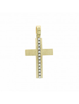 Σταυρός Γυναικείος Χρυσό 14 καράτια Με Πέτρες Ζιργκόν 5ΔΟ.122ΣΤ