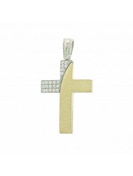 Σταυρός Γυναικείος 14 Καράτια Δίχρωμος Χρυσό-Λευκόχρυσο Με Πέτρες Ζιργκόν 5ΔΟ.287ΔΣΤ